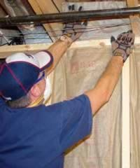 Wear a mask, (with a ventilator) gloves, and eye protection when installing fiberglass insulation