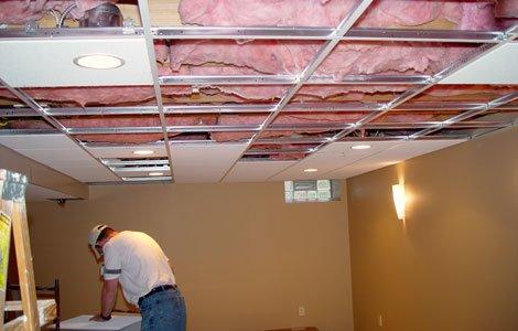 Drop ceiling tile installation Acoustic ceiling tile