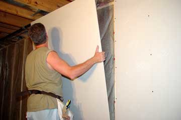 more how to hang drywall the fun continues  great step by Basement Step Installation An Drywall Installation Basement Insulation